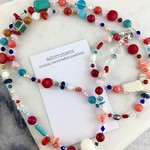 Red coral, turquoise, freshwater pearl and crystal long necklace