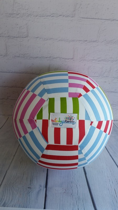 Balloon Ball: Multi coloured Stripes with patchwork look