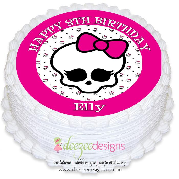Enjoyable Monster High Skull Round Edible Icing Cake Topper Pre Cut Personalised Birthday Cards Beptaeletsinfo