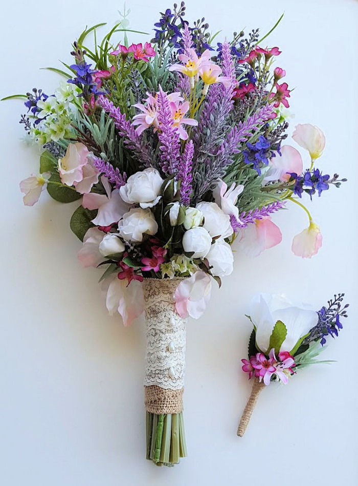 Rustic Boho Spring Flower Bouquet Wildflowers with Lavender & Pink ...