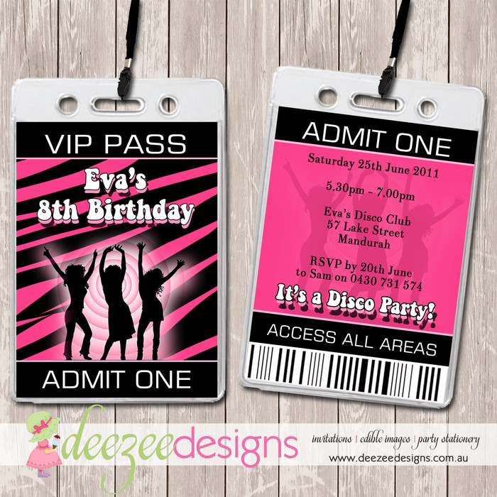 Disco Dance Party VIP Lanyard Invitations x 10 BD064G Deezee