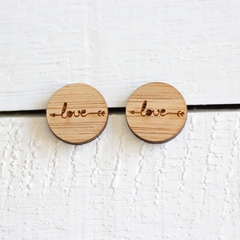 Bamboo Ply Wood Stud Earrings Laser Cut Round Love Hypo Allergenic