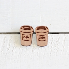 Bamboo Ply Wood Stud Earrings Laser Cut Coffee Cup Hypo Allergenic