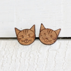 Bamboo Ply Wood Stud Earrings Laser Cut Kitty Cat Hypo Allergenic