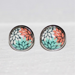 Round Glass Cabochon Stud Earrings 12mm Tri-Colour Leaf Hypo Allergenic