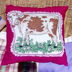 Country Comforts - Fuchsia Pink Cushion with Brown Cow
