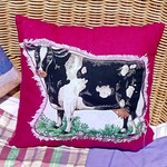 Country Comforts -  Fuchsia Pink Cushion with Black Cow