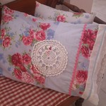 Country Comforts -Blue and Fuchsia Pink Floral  Pillow Slip