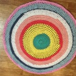 Handmade Crochet Rug - Multicoloured 130cm