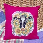 Country Comforts -Fuchsia Pink Cushion with Black Face Cow and Sunflowers