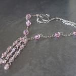 Pink tassle necklace. Long sterling silver tassle necklace.