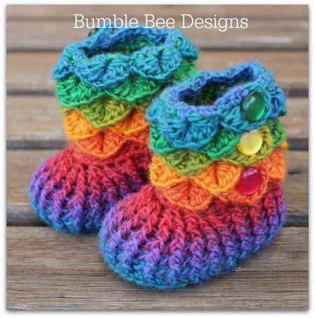 Crochet baby booties / crocodile stitch/ baby booty / size 6-12 mths  / rainbow