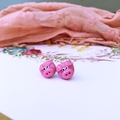 polymer clay pink pig stud earrings
