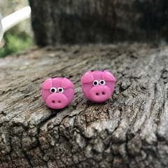 polymer clay pink pig stud earrings