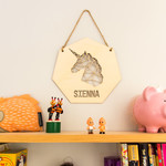 Personalised wall hanging geometric unicorn design