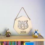 Personalised wall hanging geometric bear design