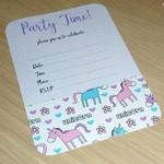 Set 10 Birthday Invitations - unicorns