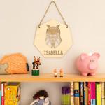 Personalised wall hanging geometric owl design
