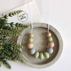 Silicone Abacus Necklace - Khaki Green