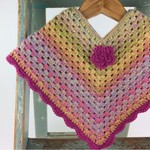 Pure Wool Rainbow Baby Poncho | 6 - 12 Months | Hand Crocheted | Ready to Post