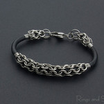 Stainless steel leather chainmaille unisex bracelet. Chainmaille jewellery.
