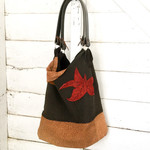 Autumn Leaf Leather Tote Bag in brown and Red