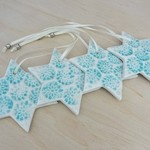 Turquoise Christmas decorations. Ceramic star ornaments. Teachers gift.