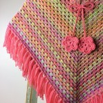 Girls Wool Rainbow Crochet Poncho | 5 - 6 Years | Hand Crocheted | Ready to Post