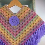 Girls Wool Rainbow Crochet Poncho | 3 - 4 Years | Hand Crocheted | Ready to Post