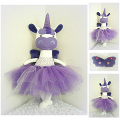 Purple Unicorn Doll/ Soft Toy with Wings and Tutu - Large Size