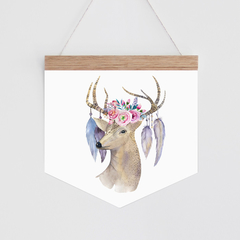 Wall Banner - Boho Deer - watercolour deer with floral and feather headpiece