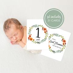 Unisex Baby Milestone Cards. Autumn wreath. Set of 31 moments and milestones