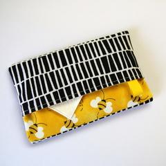 Travel Tissue Case, Pocket Tissue Holder - Bees On Yellow, Black & White