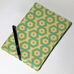 Journal cover with journal, green & yellow hexagons