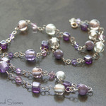 Sterling silver purple beaded necklace. Long beaded sterling silver chain.