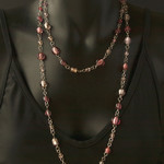 Long sterling silver beaded necklace. Gorgeous pink necklace.