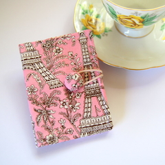 Tea Bag Wallet - French Eiffel Towers on Pink