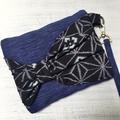 Handcrafted kimono fabric clutch handbag with bow- indigo ikat