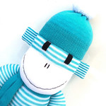 'Hugo' the Sock Monkey - aqua and white stripes - *READY TO POST*