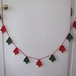 Crocheted Garland of Christmas Trees with Red String