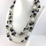 Black and Ivory Long Pearl and Crystal Necklace