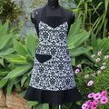 Stylish Ladies Apron In Black and White Damask Fabric