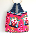 Large Market Eco Shopping Carry Bag - Birdhouses on Pink, love hearts,