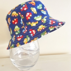 Extra small size- SECONDS-Boys summer hat in cars fabric