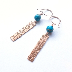 Gold and blue drop earrings