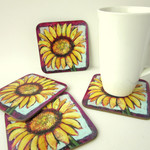 Sunflower Drink Coasters - Bright Flower Cup Coasters