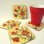 Floral Drink Coasters - Bright Flower Cup Coasters - Red Magnolia