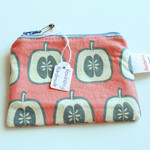 Zip pouch/ coin purse in Apple pattern cotton fabric