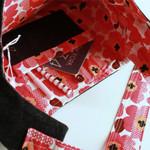 Shoulder bag, handbag- navy denim and red flowers