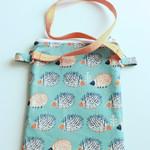 Messenger bag- blue and orange hedgehogs